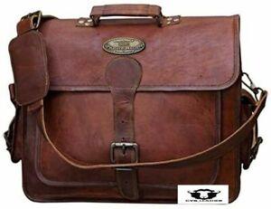 Vintage Leather Bag Shoulder Laptop Bag Briefcase (18 Inch XLL) Men's Genuine