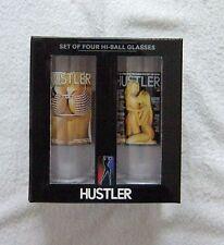 Hustler Magazine Mancave FUN Hi Ball Glasses 14 oz Set of 4 NEW in gift pack