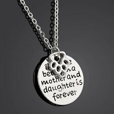 """Carved """"the love between a mother and daughter is forever"""" Pendant Necklace Gift"""