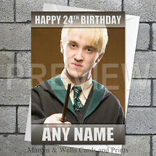Harry Potter / Draco Malfoy personalised birthday card. 5x7 inches.