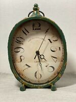 "13"" Distressed Turquoise Tabletop Clock with Hammered Finish.  Home Decor"