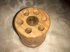 Vintage Wooden Pen Holder Inset With An Old British Farthing Coin