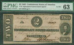 1862, T54, $2, Benjamin, periods after serial letters, PMG Grade 63 UNC