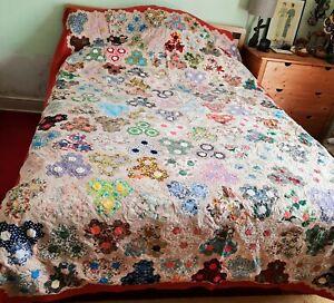 Vintage PatchworkQuilt/Double sheet/Bed Cover/Blanket 1950s/60s #cottagecore