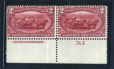 #286, 2 cent Trans-Mississippi Pair with Plate # and Inscription - MNH