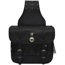 AQWA Motorcycle Motorbike Universal Saddle Bag Pair Leather Fringe Braid Design