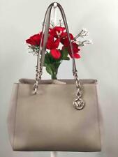 "NWT MICHAEL KORS ""Sofia"" Pearl Grey Saffiano Leather Large Chain Tote Handbag"