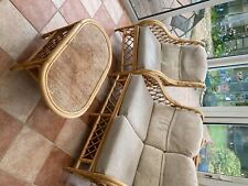 Cane/wicker chairs and Sofa comfy conservatory seating with cushions and table