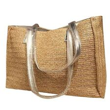Big Straw Tote Bags Silver Leather Strap Shoulder Bag Weave Beach Handbag Women