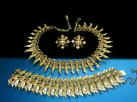 PERFECT VINTAGE FRANCOIS (CORO) GOLD TONE NECKLACE BRACELET EARRINGS PARURE SET