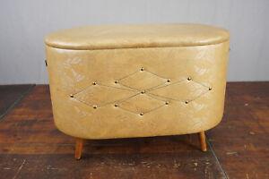Linen Chest Stool 50er Vintage Retro Bank Rockabilly Pouf Stool 50s