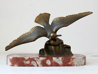 French Art Deco Cast Bronze Seagull on Marble Plinth