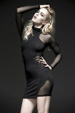 SALE Punk Rave Bodycon Gothic Industrial Sheer Cut out Dress Black Size 8 - 10