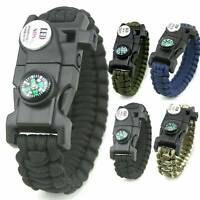 Outdoor Survival Paracord Bracelet LED Flint Fire Starter Knife Compass Whistle