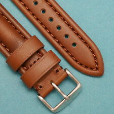 20mm HQ Bro-Co Oily Leather BROWN Watch Band Silver Buckle With 2 Spring Bar