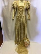 Medieval / Tudor Ladies Dress Gold velour and headdress Size 12 ex hire