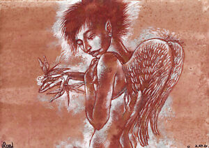 original painting A3 209RI art by samovar acrylic Modern naked angel Signed 2021