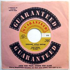 PAUL EVANS 45 Hushaby Little Guitar / Blind Boy VG++ Teen R&B Bopper 1960 w5239
