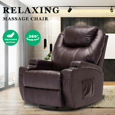 Electric Massage Chairs Recliner Chair Lounge Swivel Heated Sofa Leather Brown