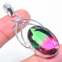 Bi-Color Tourmaline Gemstone  Handmade Ethnic Style Jewelry Pendant 2.25""