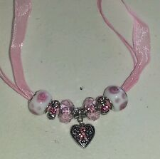 """16"""" PINK ORGANZA ROPE NECKLACE-BREAST CANCER HEART CHARM-GLASS,METAL BEADS"""