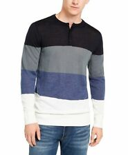 DKNY Mens Sweaterqq Blue Size Large L Henley Colorblocked Lightweight $89 040