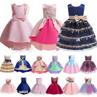 Girls Kids Flower Princess Dress Party Formal Wedding Bridesmaid Prom Tutu Dress