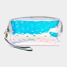 NEW~ Clear Transparent Holographic Hearts PVC Zippered Makeup Travel Bag Pouch