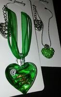 ***SALE ***  2pack  Handcrafted Green Glass & Crystal  Heart Pendant Necklaces