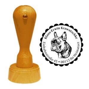 Stempel Adressenstempel Französische Bulldogge Holzstempel Hund Rundstempel 2 🎁