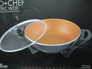 "Eco + Chef Copper Series 13"" Ceramic Nonstick Electric Wok 1400 Watts NEW in Box"