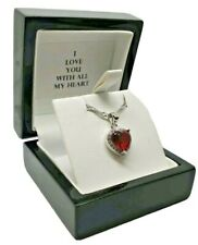 White gold finish heart cut red ruby created diamond necklace Gift Boxed