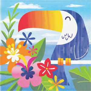 16 x Lush Luau Tropical Party Napkins Toucan Tropical Birds Hawaiian Beach Theme