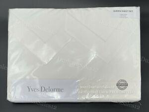 *YVES DELORME Luxury PARURE 4pc QUEEN Sheet Set w/Pillowcases WHITE Cotton Paris