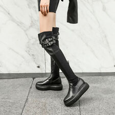 Womens Chic Leather Buckle Straps Platform Over Knee Stretched Boots Shoes P10