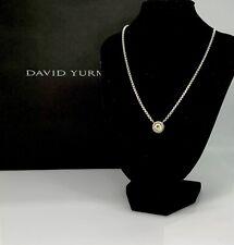 "David Yurman-Sterling silver & 14k Gold ""Cookie"" Pendant Necklace W/ Peridot 16"""