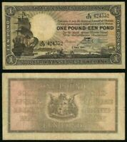 Currency 1943 South African Reserve Bank One Pound Banknote Sailing Ship P# 84e