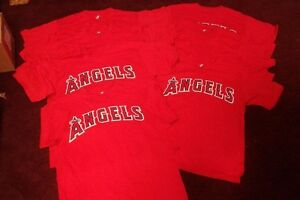 NEW LOS ANGELES ANGELS BASEBALL TEAM JERSEY LOT OF 13 MAJESTIC BLANK YOUTH TEES