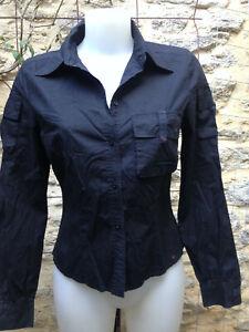 MEXX  chemisier femme manche longue coton noir poches Taille 40