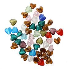 50 X Murano Glass Beads Pendant HEART 12MM G4G0