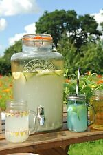 8 Litre Large Kilner Clip Top Storage Glass Drink Juice Dispenser Jar With Tap