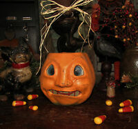 Primitive Antique Vtg Style Halloween Paper Mache Jack-O-Lantern Pumpkin Bucket