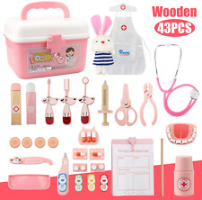 43Pcs Wooden Doctors Kit Pretend Play Medical Set with Functional Stethoscope 3