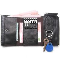 Men's Genuine Leather Car Key Case Trifold Wallet Zip ID Card Cash Keys Holder