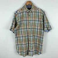 Gazman Mens Button Up Shirt Small Multicoloured Plaid Short Sleeve Collared