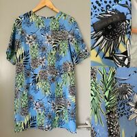 River Island Blue Lined Tropical Print T-Shirt Dress Pineapple Tunic Size 12