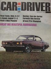 Car & Driver magazine 12/1966 featuring Jaguar E-type, Plymouth, Oldsmobile