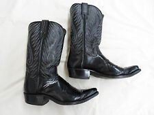 """DAN POST Cowboy Western Boots Mens Black Size 9D  Made in Spain 13"""" Tall"""