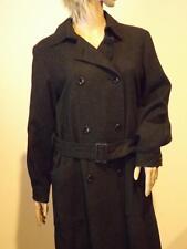 Vintage Valentino Rain Black & Gray Double Breasted Wool Coat Size 6 Belt