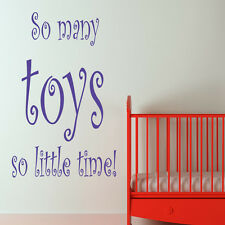 SO MANY TOYS... PLASYROOM WALL STICKER ART DECAL QUOTE